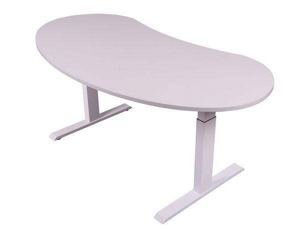 Höhenverstellbarer Schreibtisch - Tischplatte in Nierenform