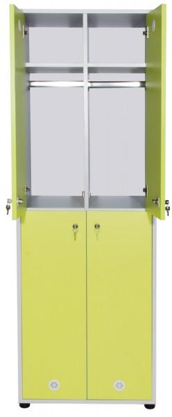 Holzspind / Umkleideschrank mit 4 Türen, Farbkombi