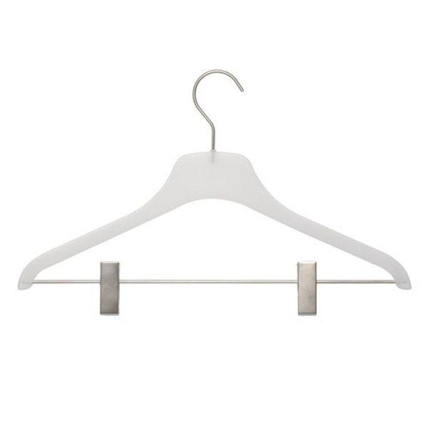 Kunststoff-Kleiderbügel frosted mit Klammersteg