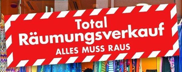 """Aufkleber """" Total Räumungsverkauf - ALLES MUS RAUS """""""