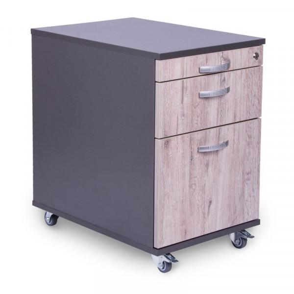 Rollcontainer 80cm tief mit Materialauszug + Schublade + Hängeregistratur