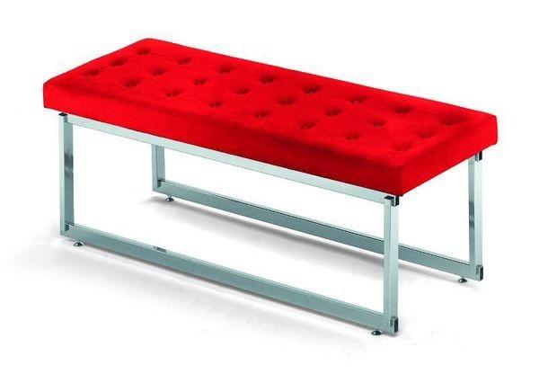 Stabile Sitzbank - chrom / rot