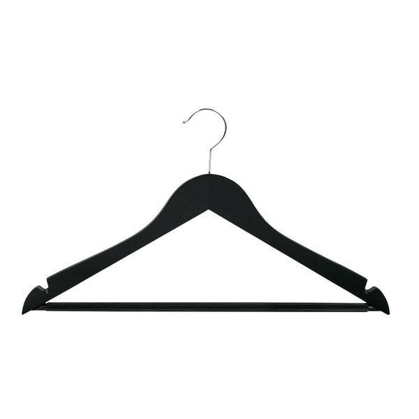Holz Kleiderbügel mit Steg, schwarz-lackiert